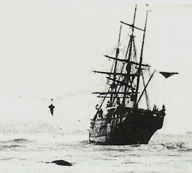 "A crewman from the stricken ss ""Mazinthien"" is hauled ashore. Peterhead Bay, March 17th, 1883. courtesy Arbuthnot Museum"